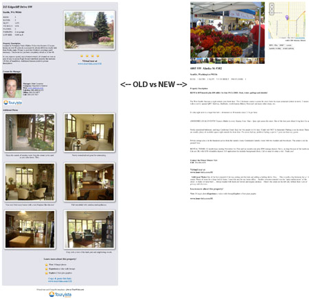 TourVista's original Craigslist template (left) shows images and other styling. Craigslist converts it all to boring, plain text (right).